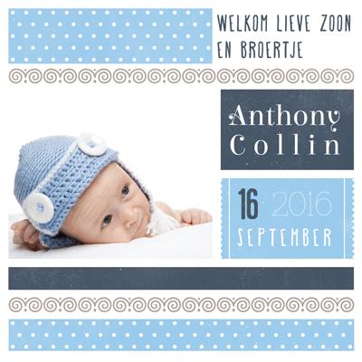 Anthony Sweetheart geboortekaartje